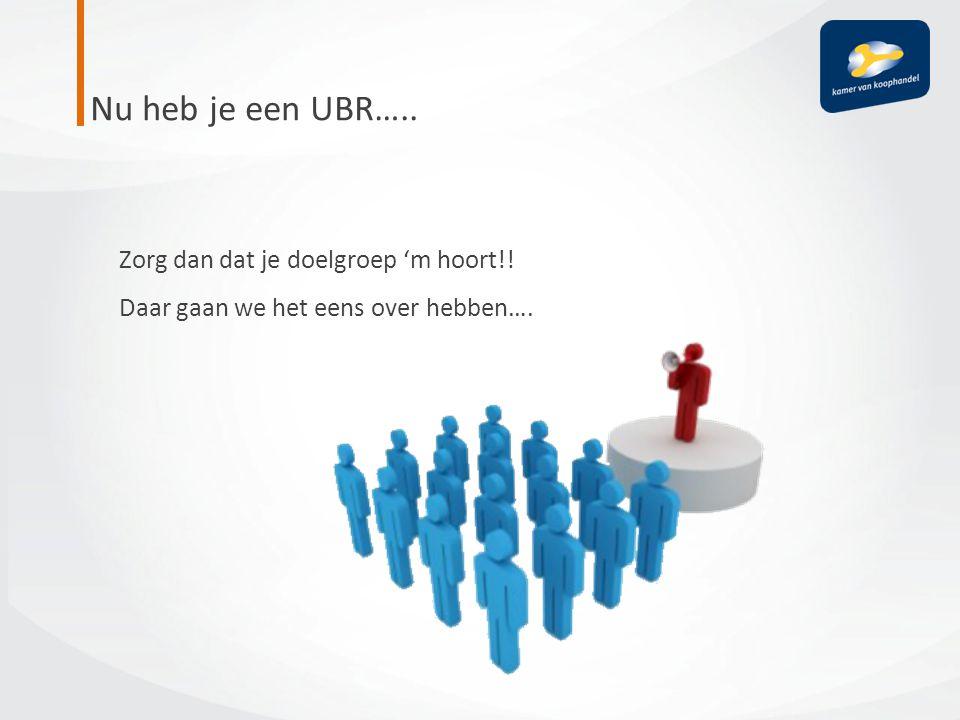 Nu heb je een UBR….. Zorg dan dat je doelgroep 'm hoort!! Daar gaan we het eens over hebben….