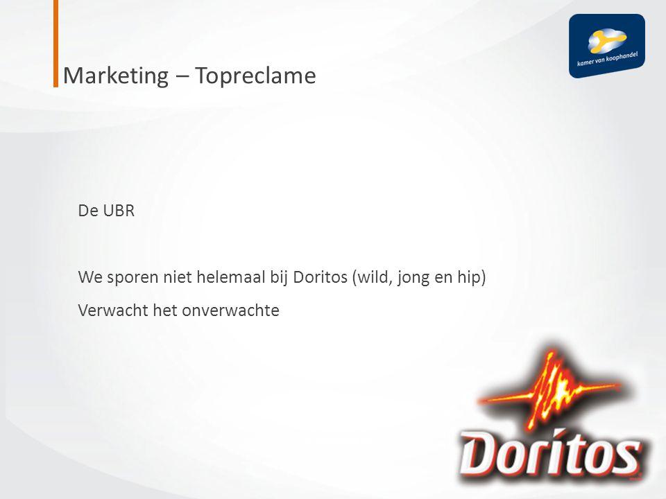 De UBR We sporen niet helemaal bij Doritos (wild, jong en hip) Verwacht het onverwachte