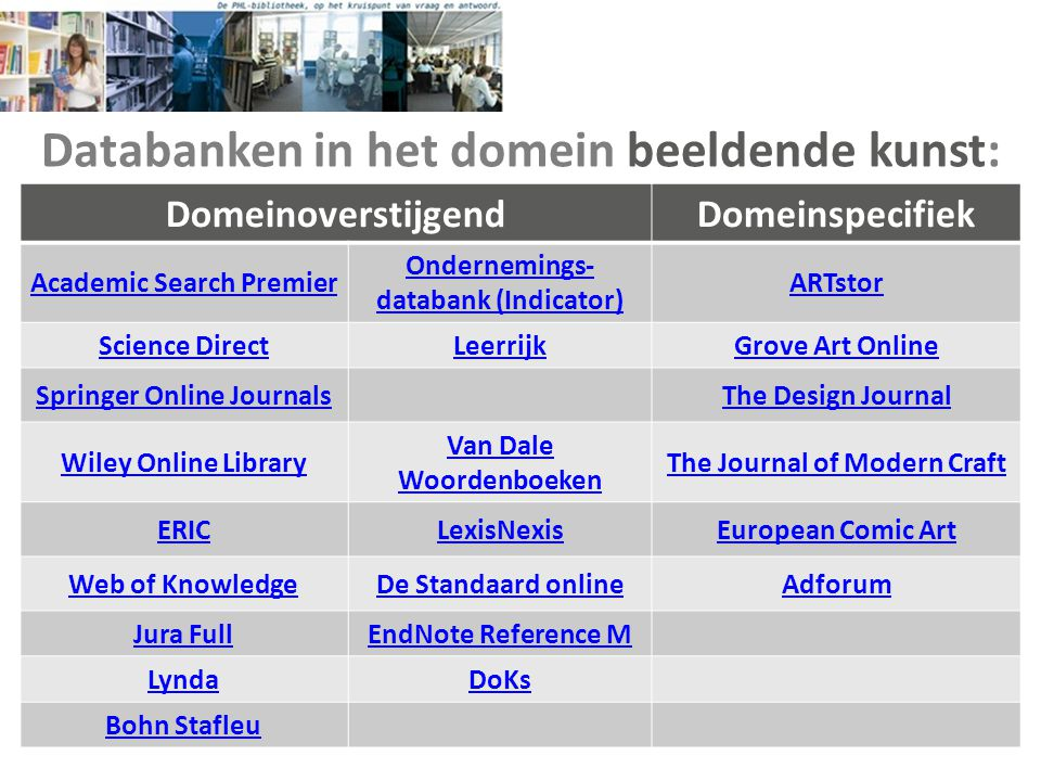 Databanken Academic Search Premier • een internationale databank met meer dan 8300 (waarvan 4500 full text) wetenschappelijke tijdschriften en literatuurverwijzingen op diverse vakgebieden.