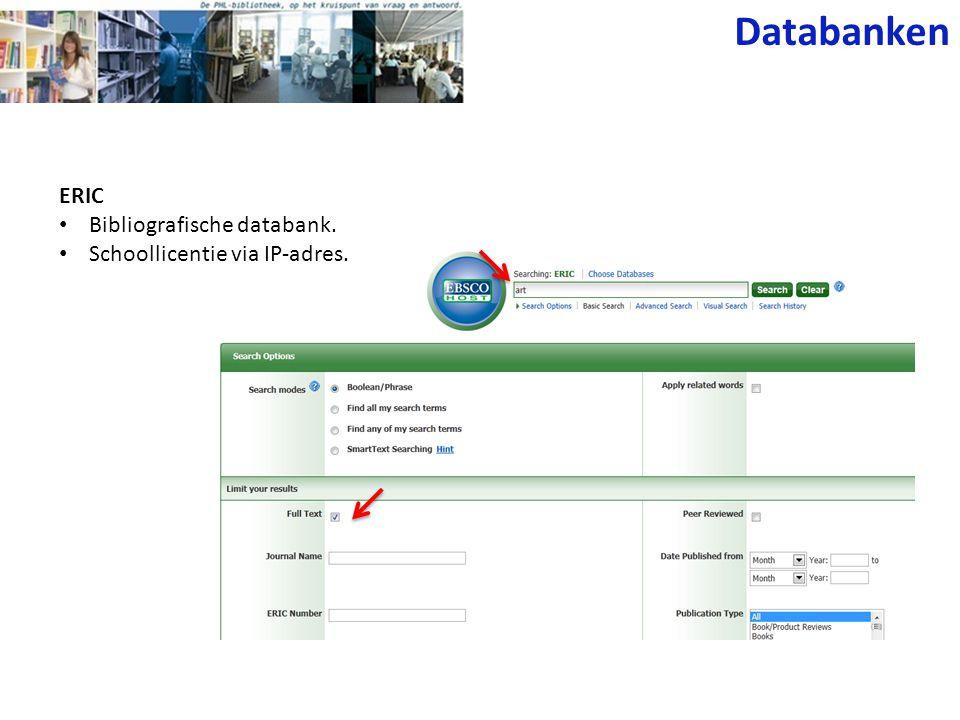 Web of Knowledge • Schoollicentie (elektronisch) via IP- adres.