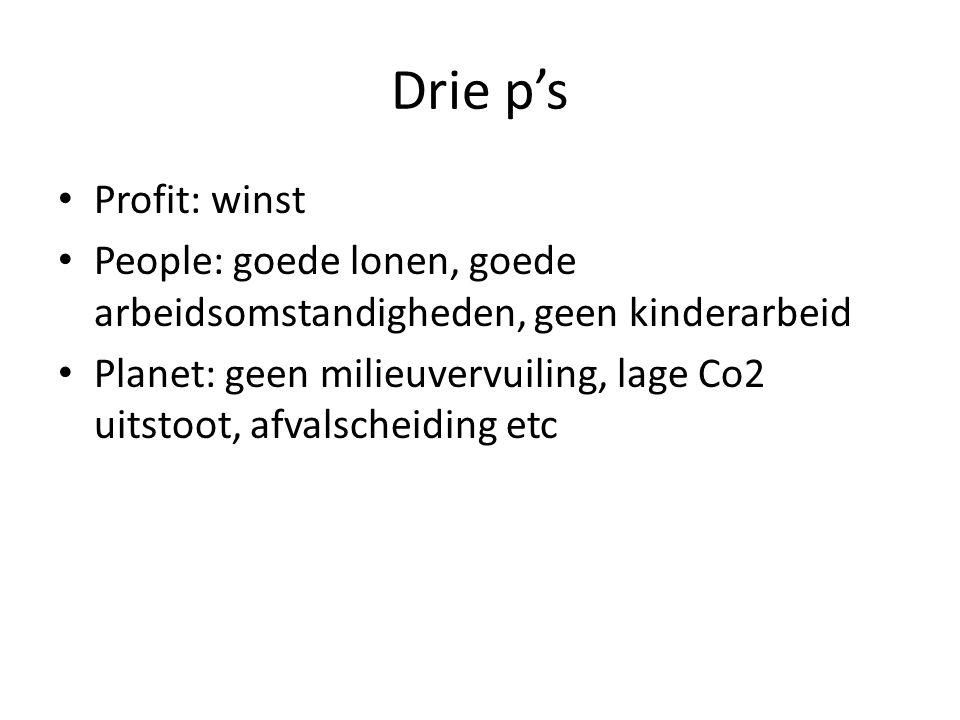 Drie p's • Profit: winst • People: goede lonen, goede arbeidsomstandigheden, geen kinderarbeid • Planet: geen milieuvervuiling, lage Co2 uitstoot, afv