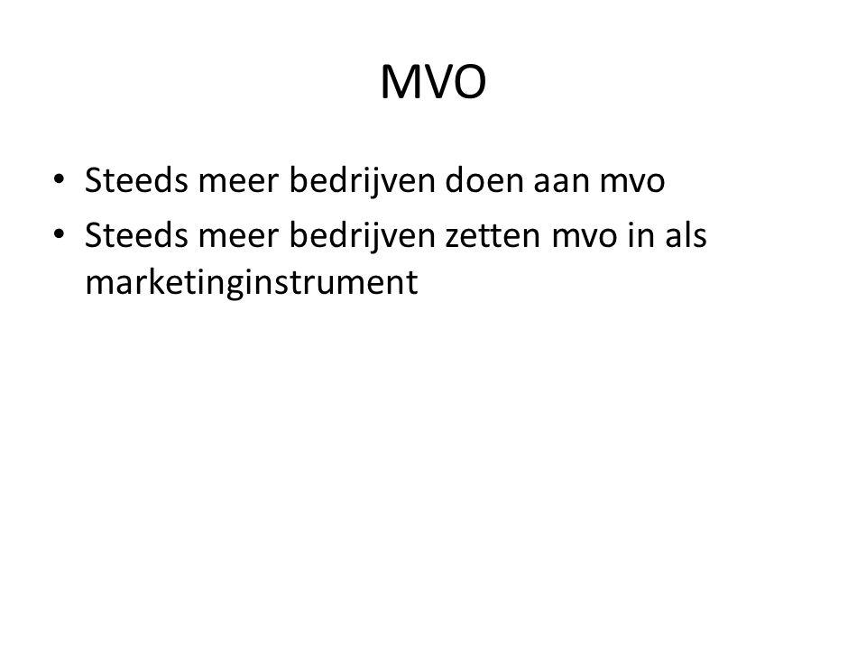 MVO • Steeds meer bedrijven doen aan mvo • Steeds meer bedrijven zetten mvo in als marketinginstrument