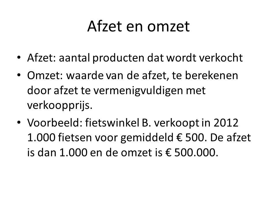 Afzet en omzet • Afzet: aantal producten dat wordt verkocht • Omzet: waarde van de afzet, te berekenen door afzet te vermenigvuldigen met verkoopprijs