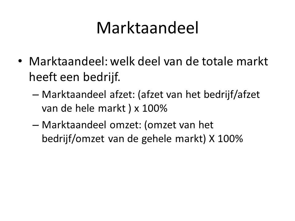 Marktaandeel • Marktaandeel: welk deel van de totale markt heeft een bedrijf. – Marktaandeel afzet: (afzet van het bedrijf/afzet van de hele markt ) x
