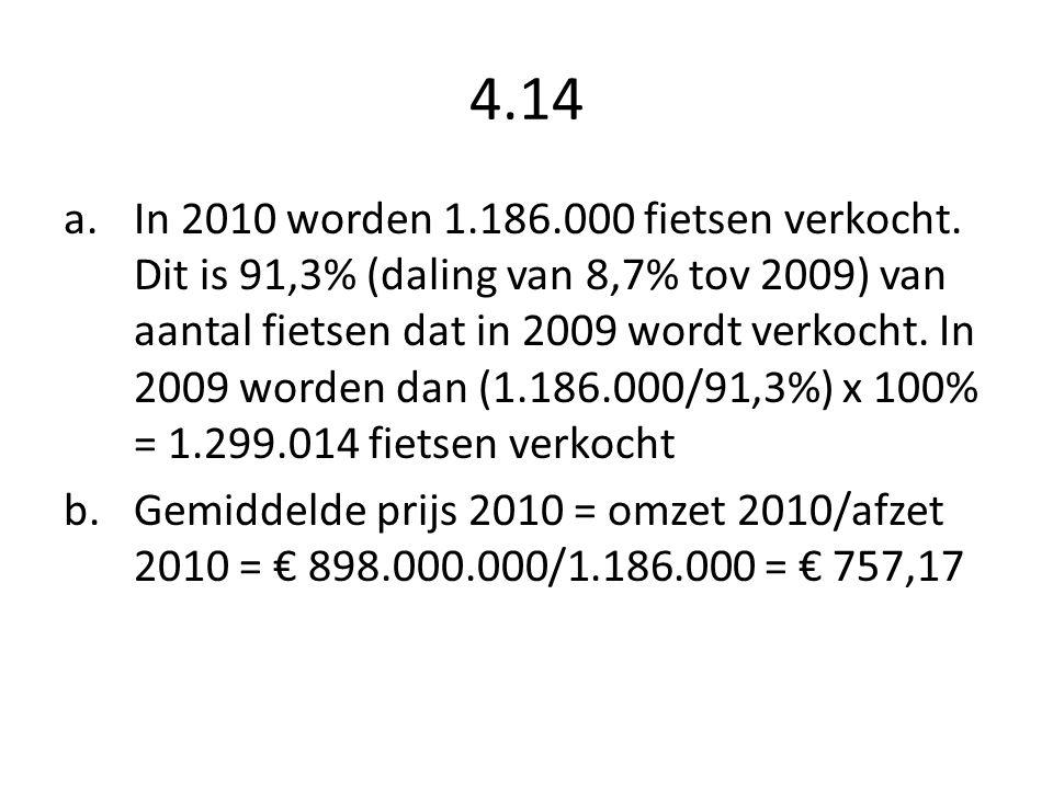 4.14 a.In 2010 worden 1.186.000 fietsen verkocht. Dit is 91,3% (daling van 8,7% tov 2009) van aantal fietsen dat in 2009 wordt verkocht. In 2009 worde