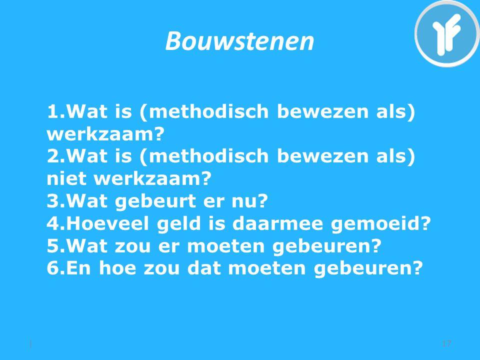 Bouwstenen |17 1.Wat is (methodisch bewezen als) werkzaam.