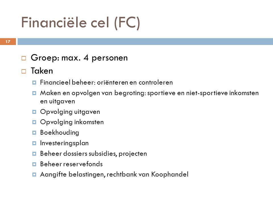 Financiële cel (FC)  Groep: max.