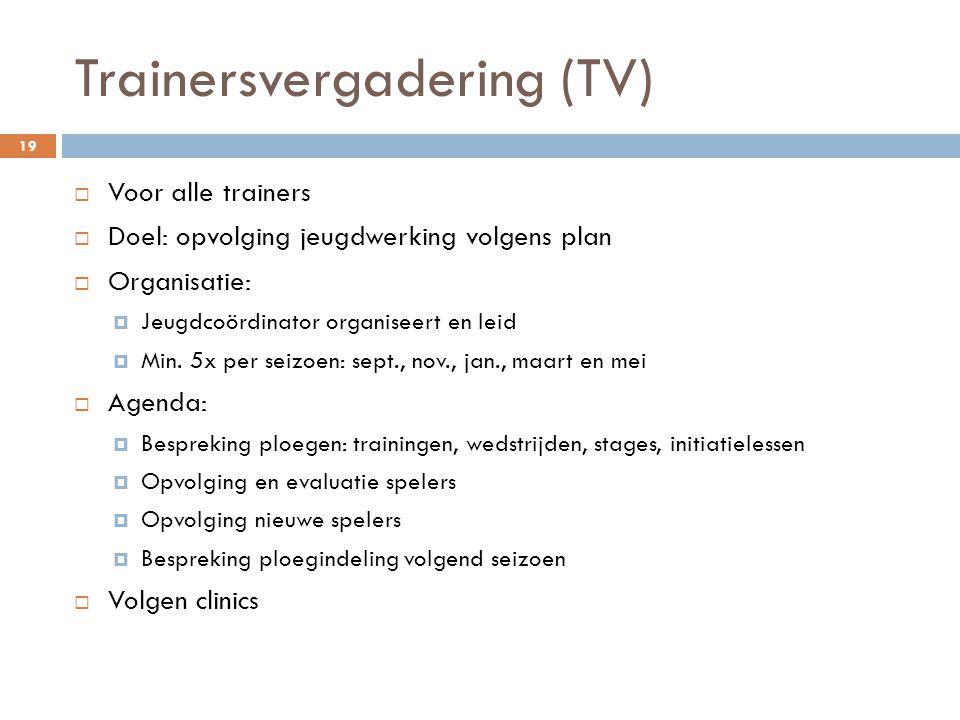 Trainersvergadering (TV)  Voor alle trainers  Doel: opvolging jeugdwerking volgens plan  Organisatie:  Jeugdcoördinator organiseert en leid  Min.
