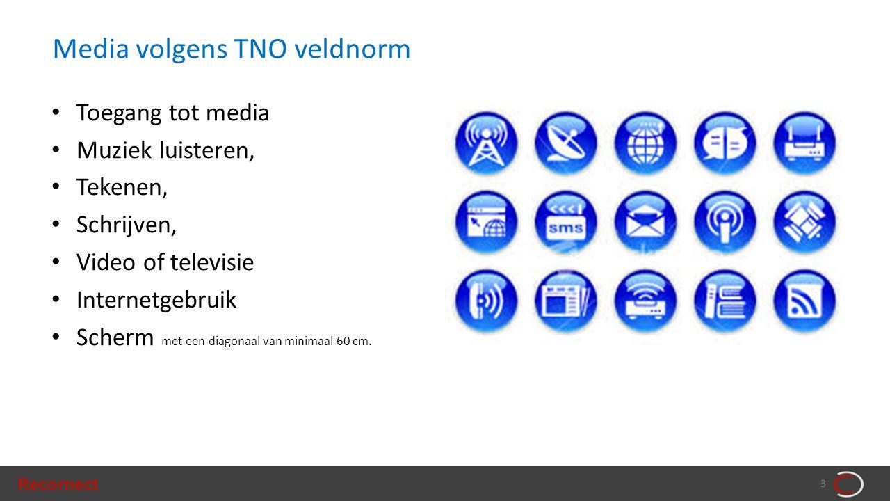 Recornect 3 Media volgens TNO veldnorm • Toegang tot media • Muziek luisteren, • Tekenen, • Schrijven, • Video of televisie • Internetgebruik • Scherm