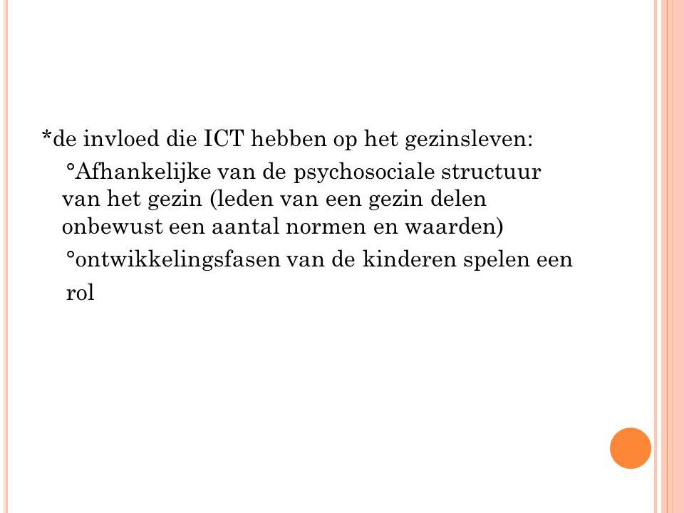 *de invloed die ICT hebben op het gezinsleven: °Afhankelijke van de psychosociale structuur van het gezin (leden van een gezin delen onbewust een aant