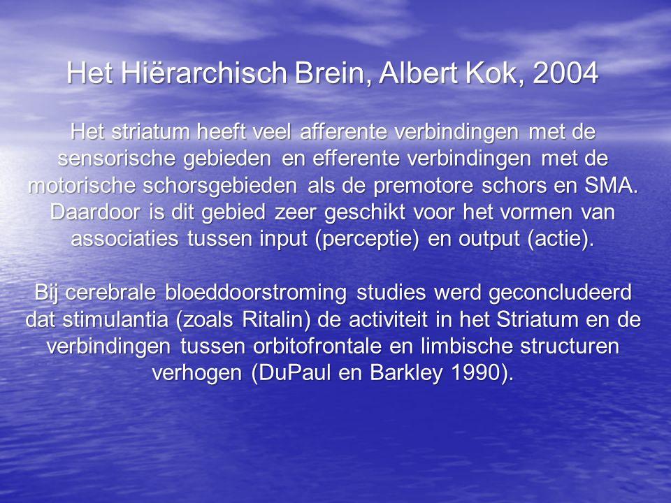 Het Hiërarchisch Brein, Albert Kok, 2004 Het striatum heeft veel afferente verbindingen met de sensorische gebieden en efferente verbindingen met de motorische schorsgebieden als de premotore schors en SMA.