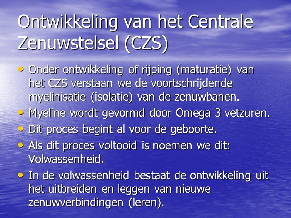 Ontwikkeling van het Centrale Zenuwstelsel (CZS) • Onder ontwikkeling of rijping (maturatie) van het CZS verstaan we de voortschrijdende myelinisatie (isolatie) van de zenuwbanen.