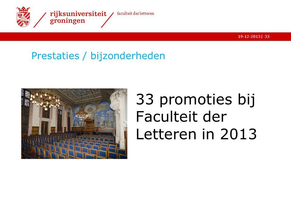 | faculteit der letteren 19-12-2013 Prestaties / bijzonderheden 33 promoties bij Faculteit der Letteren in 2013 33