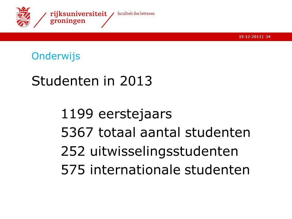 | faculteit der letteren 19-12-2013 Onderwijs Studenten in 2013 1199 eerstejaars 5367 totaal aantal studenten 252 uitwisselingsstudenten 575 internati