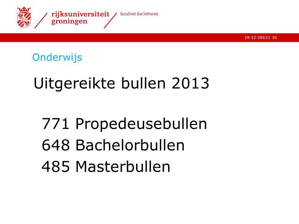 | faculteit der letteren 19-12-2013 Onderwijs Uitgereikte bullen 2013 771 Propedeusebullen 648 Bachelorbullen 485 Masterbullen 35