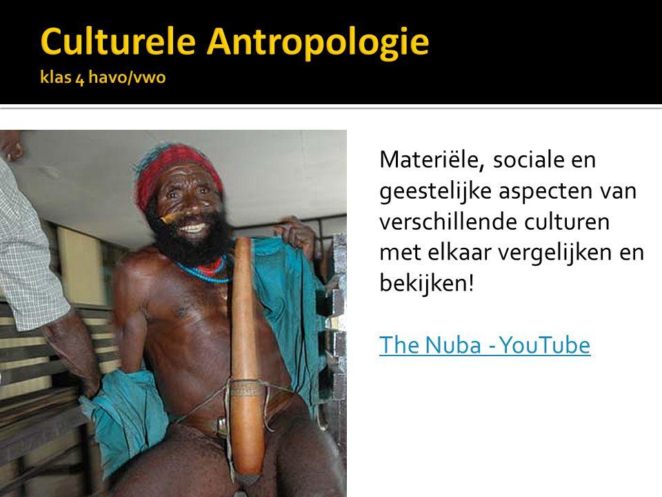 Materiële, sociale en geestelijke aspecten van verschillende culturen met elkaar vergelijken en bekijken.