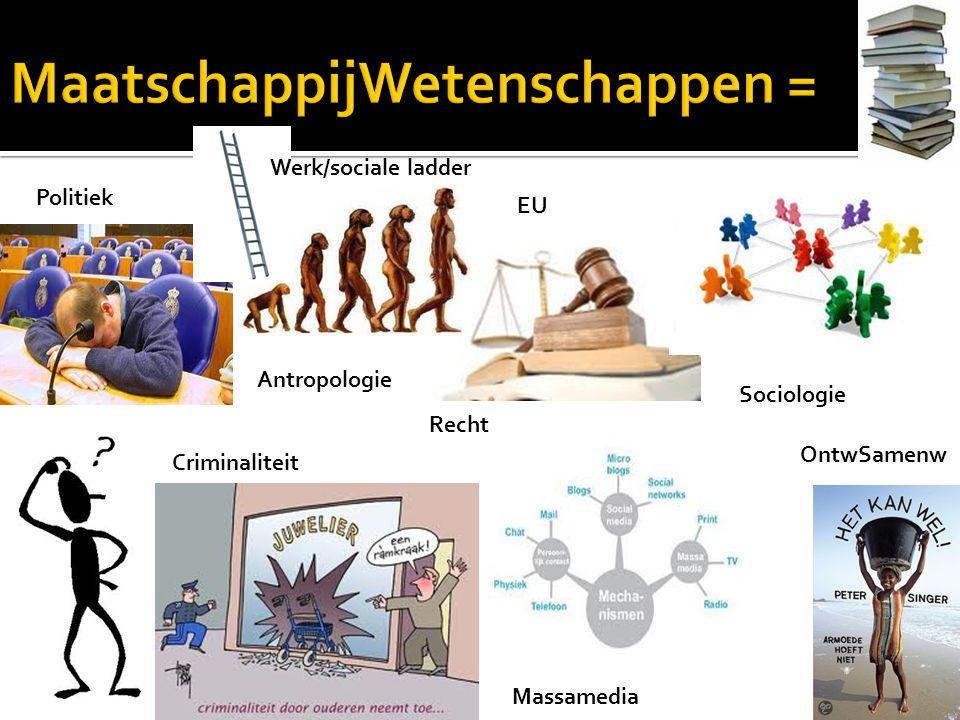 Antropologie Recht Criminaliteit Massamedia Politiek Sociologie OntwSamenw EU Werk/sociale ladder