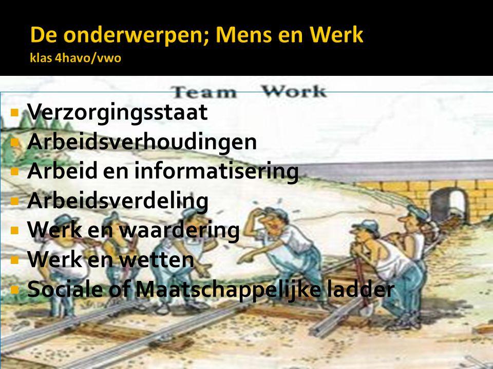  Verzorgingsstaat  Arbeidsverhoudingen  Arbeid en informatisering  Arbeidsverdeling  Werk en waardering  Werk en wetten  Sociale of Maatschappelijke ladder