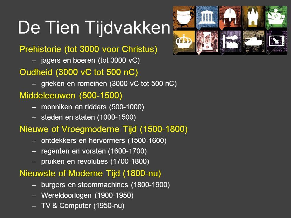 De Tien Tijdvakken Prehistorie (tot 3000 voor Christus) –jagers en boeren (tot 3000 vC) Oudheid (3000 vC tot 500 nC) –grieken en romeinen (3000 vC tot