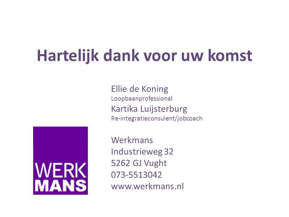 Hartelijk dank voor uw komst Ellie de Koning Loopbaanprofessional Kartika Luijsterburg Re-integratieconsulent/jobcoach Werkmans Industrieweg 32 5262 GJ Vught 073-5513042 www.werkmans.nl