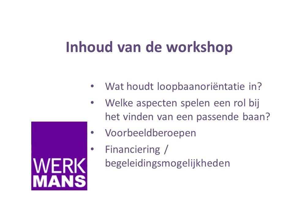 Inhoud van de workshop • Wat houdt loopbaanoriëntatie in.