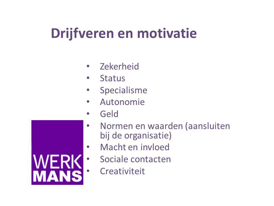 Drijfveren en motivatie • Zekerheid • Status • Specialisme • Autonomie • Geld • Normen en waarden (aansluiten bij de organisatie) • Macht en invloed • Sociale contacten • Creativiteit