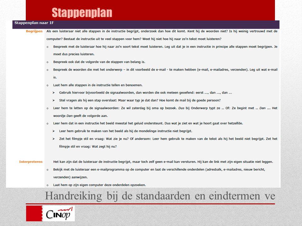 Handreiking bij de standaarden en eindtermen ve Stappenplan