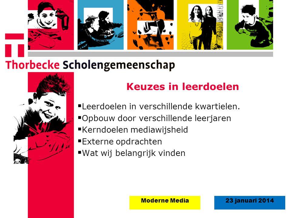 18 augustus 2008Start schooljaar 5 september 2011 23 januari 2014Moderne Media Keuzes in leerdoelen  Leerdoelen in verschillende kwartielen.  Opbouw