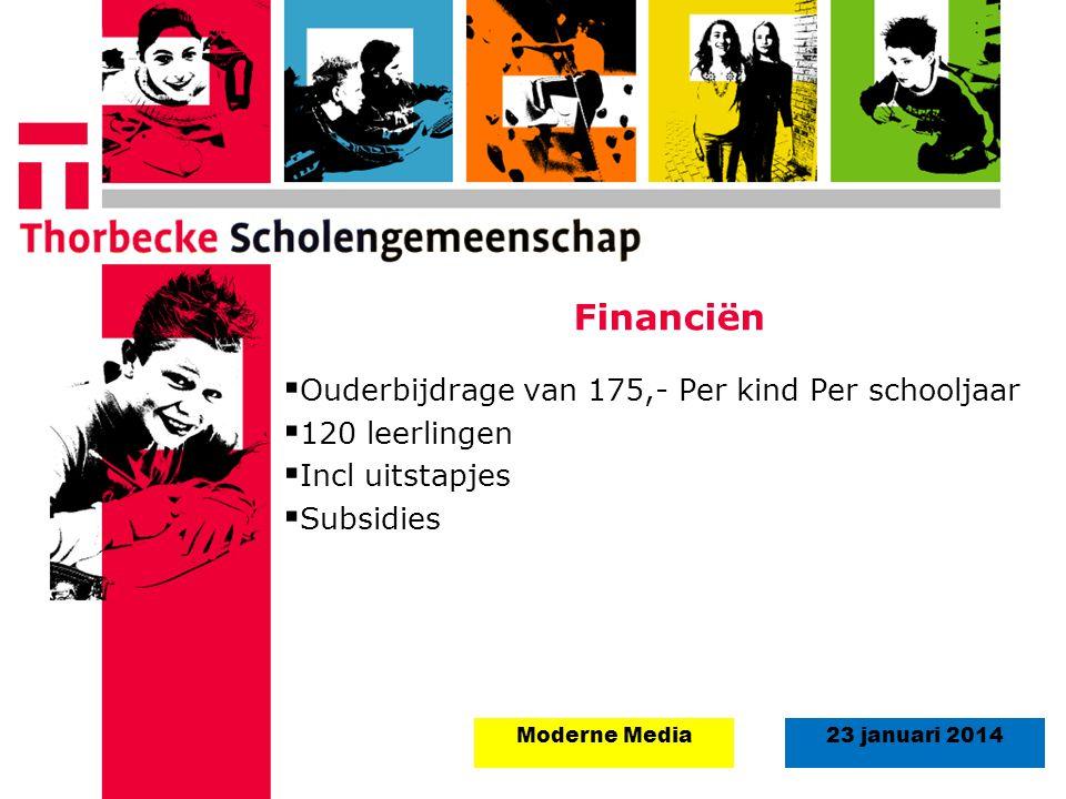 18 augustus 2008Start schooljaar 5 september 2011 23 januari 2014Moderne Media Financiën  Ouderbijdrage van 175,- Per kind Per schooljaar  120 leerl