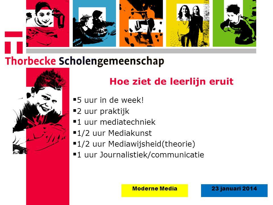 18 augustus 2008Start schooljaar 5 september 2011 23 januari 2014Moderne Media Hoe ziet de leerlijn eruit  5 uur in de week!  2 uur praktijk  1 uur