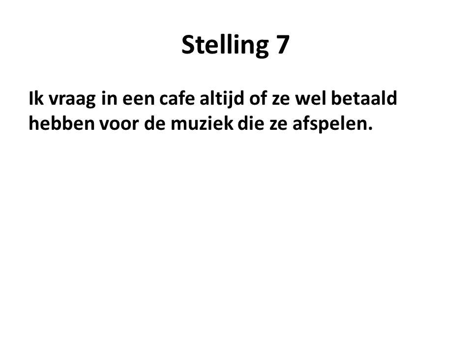 Stelling 7 Ik vraag in een cafe altijd of ze wel betaald hebben voor de muziek die ze afspelen.