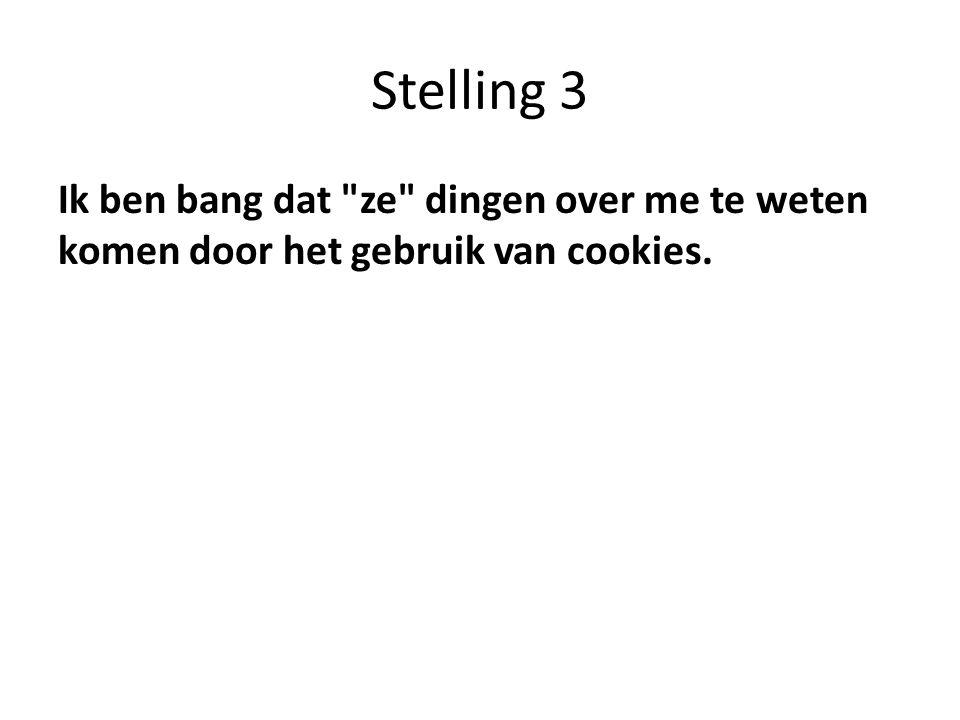 Stelling 3 Ik ben bang dat ze dingen over me te weten komen door het gebruik van cookies.
