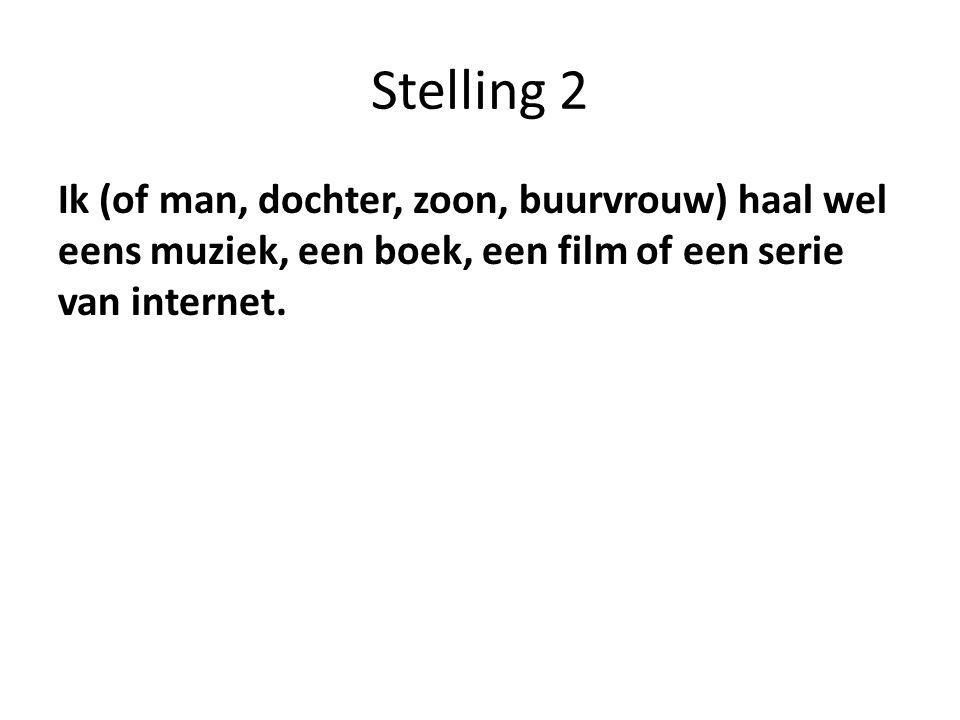 Stelling 2 Ik (of man, dochter, zoon, buurvrouw) haal wel eens muziek, een boek, een film of een serie van internet.
