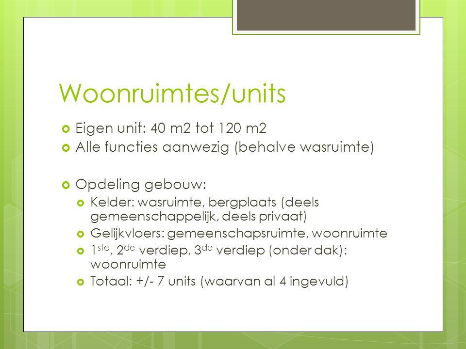 Woonruimtes/units  Eigen unit: 40 m2 tot 120 m2  Alle functies aanwezig (behalve wasruimte)  Opdeling gebouw:  Kelder: wasruimte, bergplaats (deel