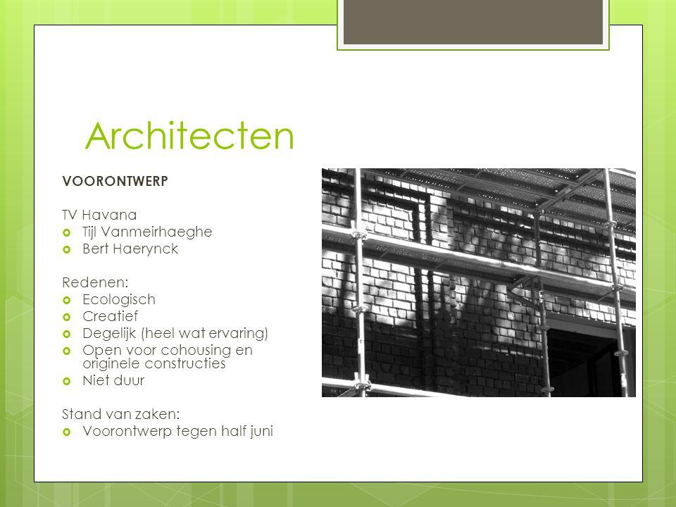 Architecten VOORONTWERP TV Havana  Tijl Vanmeirhaeghe  Bert Haerynck Redenen:  Ecologisch  Creatief  Degelijk (heel wat ervaring)  Open voor coh