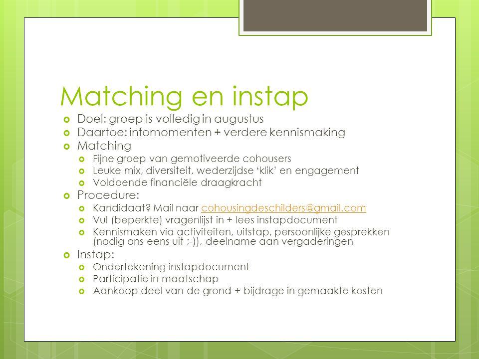 Matching en instap  Doel: groep is volledig in augustus  Daartoe: infomomenten + verdere kennismaking  Matching  Fijne groep van gemotiveerde coho