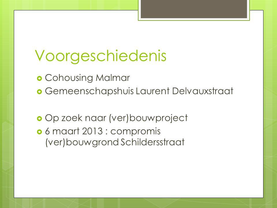 Voorgeschiedenis  Cohousing Malmar  Gemeenschapshuis Laurent Delvauxstraat  Op zoek naar (ver)bouwproject  6 maart 2013 : compromis (ver)bouwgrond