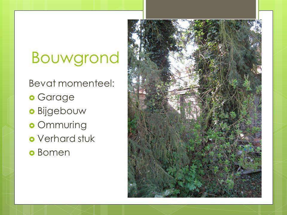 Bouwgrond Bevat momenteel:  Garage  Bijgebouw  Ommuring  Verhard stuk  Bomen