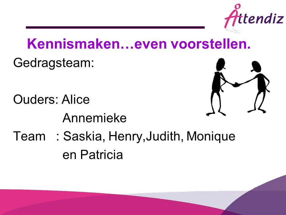 Kennismaken…even voorstellen. Gedragsteam: Ouders: Alice Annemieke Team : Saskia, Henry,Judith, Monique en Patricia