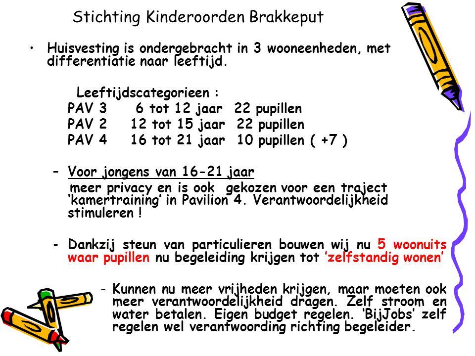 Stichting Kinderoorden Brakkeput •Huisvesting is ondergebracht in 3 wooneenheden, met differentiatie naar leeftijd. Leeftijdscategorieen : PAV 3 6 tot