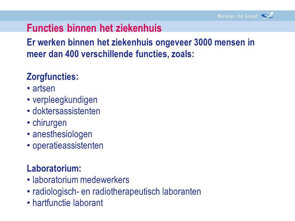 Er werken binnen het ziekenhuis ongeveer 3000 mensen in meer dan 400 verschillende functies, zoals: Zorgfuncties: • artsen • verpleegkundigen • dokter