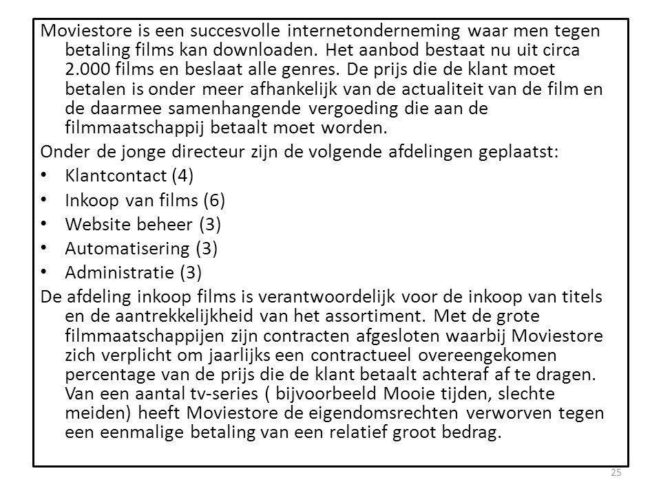 Moviestore is een succesvolle internetonderneming waar men tegen betaling films kan downloaden.