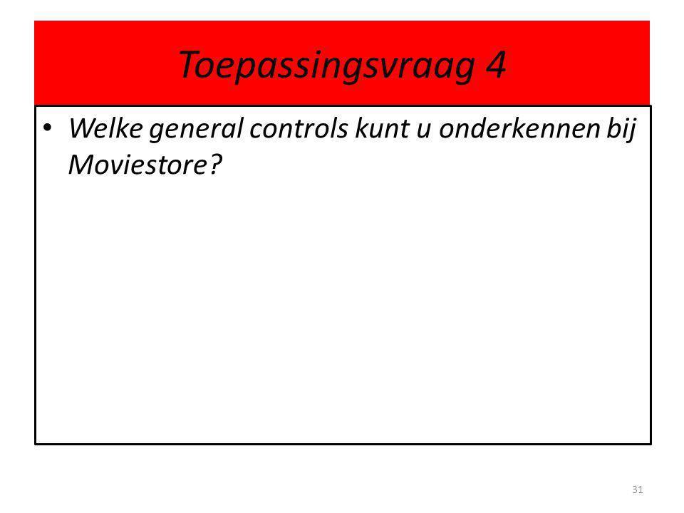 Toepassingsvraag 4 • Welke general controls kunt u onderkennen bij Moviestore? 31