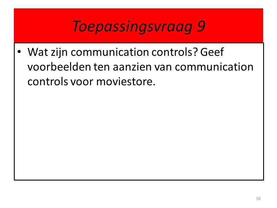 Toepassingsvraag 9 • Wat zijn communication controls.