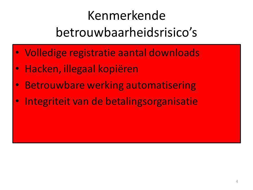 Kenmerkende betrouwbaarheidsrisico's • Volledige registratie aantal downloads • Hacken, illegaal kopiëren • Betrouwbare werking automatisering • Integriteit van de betalingsorganisatie 4
