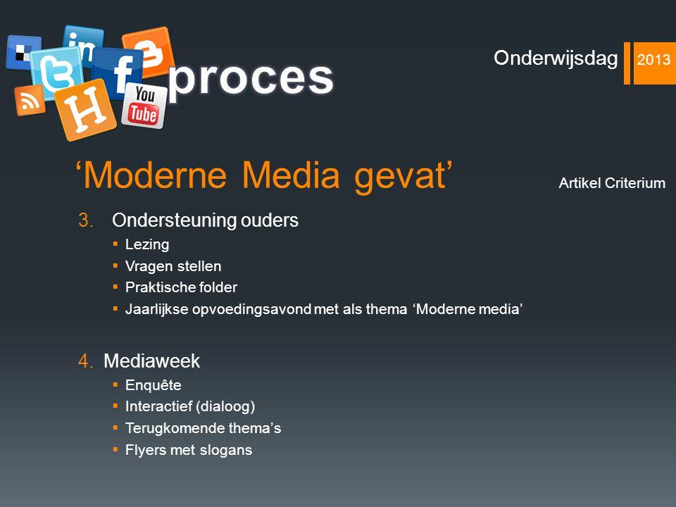 'Moderne Media gevat' 3.Ondersteuning ouders  Lezing  Vragen stellen  Praktische folder  Jaarlijkse opvoedingsavond met als thema 'Moderne media'