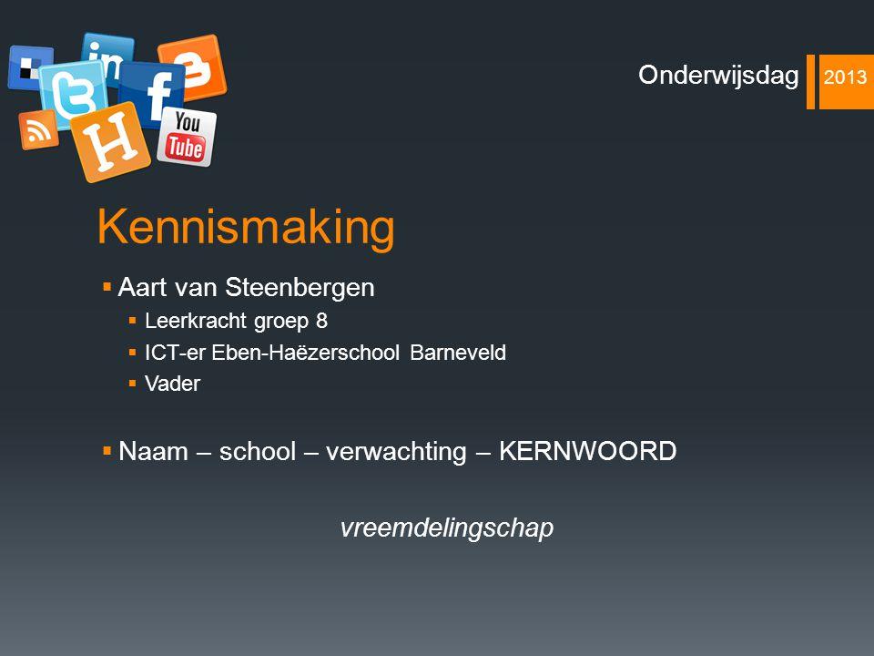 Kennismaking  Aart van Steenbergen  Leerkracht groep 8  ICT-er Eben-Haëzerschool Barneveld  Vader  Naam – school – verwachting – KERNWOORD vreemd