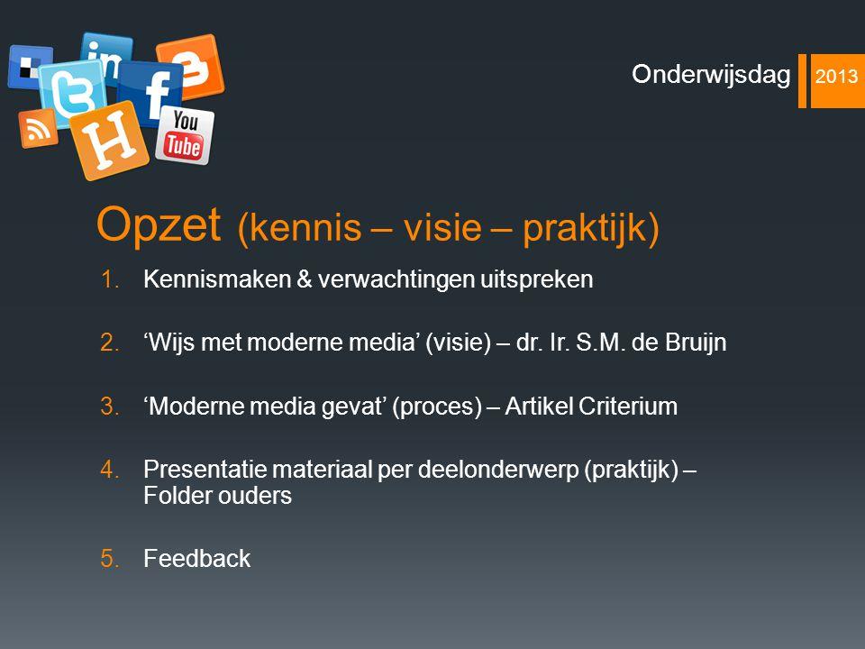 Opzet (kennis – visie – praktijk) 1.Kennismaken & verwachtingen uitspreken 2.'Wijs met moderne media' (visie) – dr. Ir. S.M. de Bruijn 3.'Moderne medi