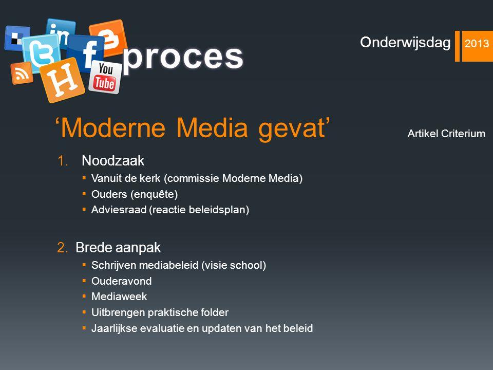 'Moderne Media gevat' 1.Noodzaak  Vanuit de kerk (commissie Moderne Media)  Ouders (enquête)  Adviesraad (reactie beleidsplan) 2.Brede aanpak  Sch
