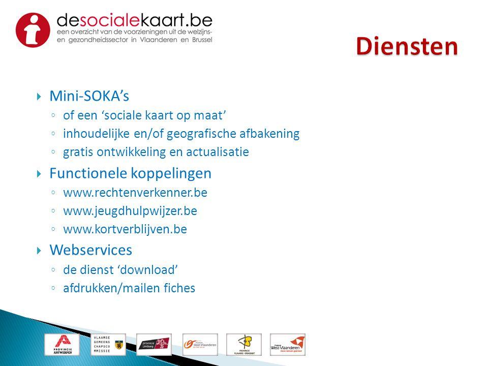  Mini-SOKA's ◦ of een 'sociale kaart op maat' ◦ inhoudelijke en/of geografische afbakening ◦ gratis ontwikkeling en actualisatie  Functionele koppel